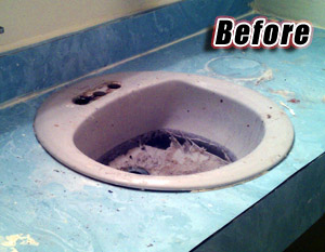 A chipped sink and ugly counter before refinishing
